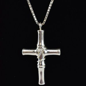 GUCCI: Sterling Silver, Bamboo Cross Necklace (oq)